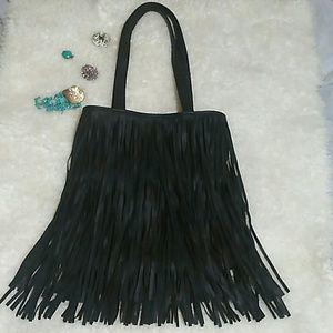 Handbags - Black fringe Hobo Shoulder Bag